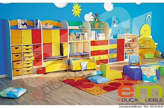 Set de #Muebles #Clásico compuesto por 5 #cajoneras serie D, dos #estanterías y 2 #contenedores grandes con ruedas. Tienda #Educamueble