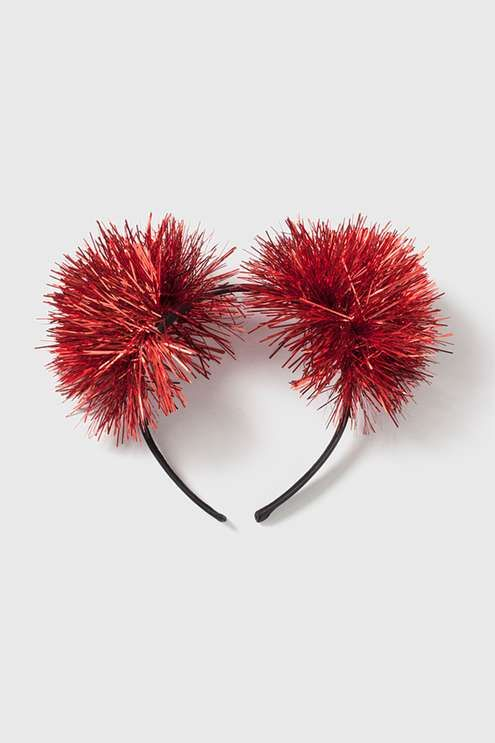 Red tinsel pom pom headband. #Topshop