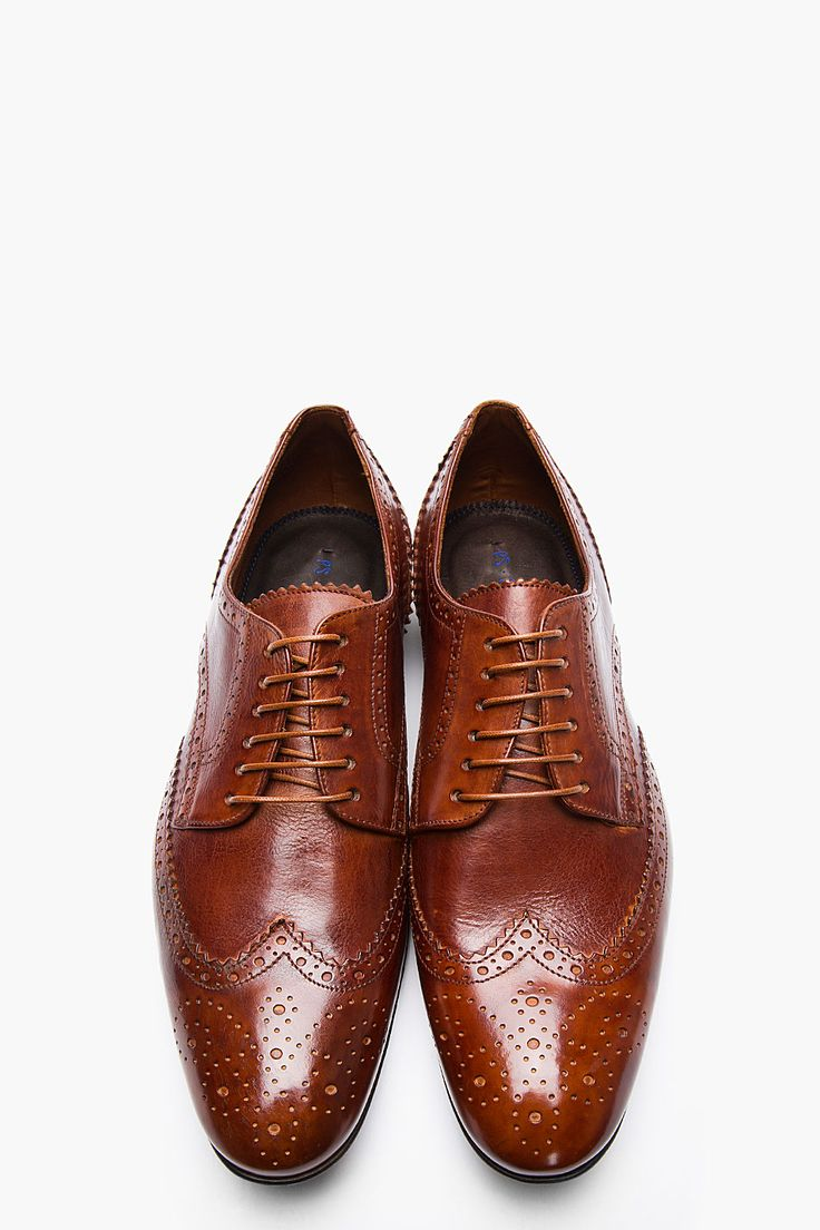 PS PAUL SMITH Tan Leather Milton Dip Dyed Wingtip Brogues #Shoes&Boots