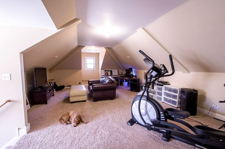 Finished Attic Exercise Room, Rec Room, Storage.