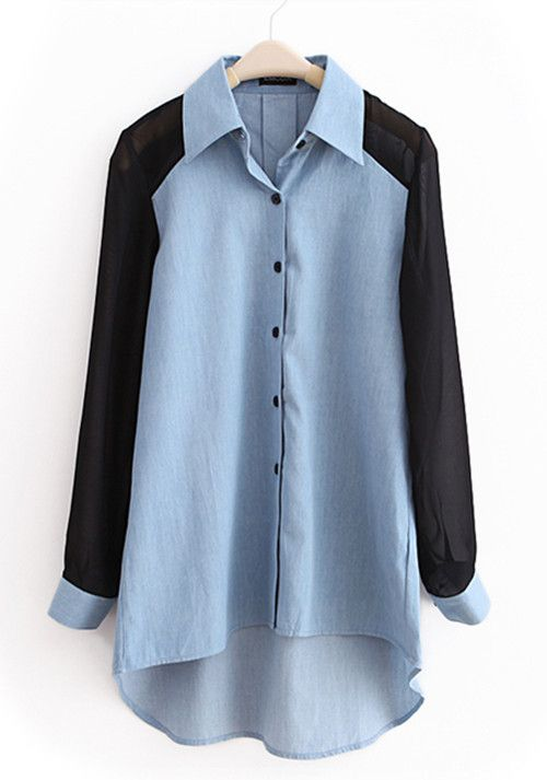 Light-blue Lapel Patchwork Chiffon Denim Shirt US$49.90