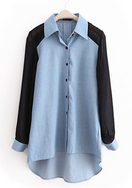 Light-blue Lapel Patchwork Chiffon Denim Shirt US$49.90