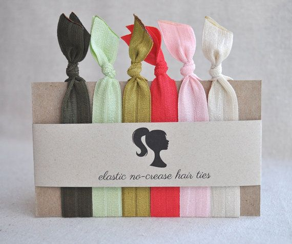 Elastic NoCrease Hair Ties Matching headbands by BashoreDesigns, $14.00
