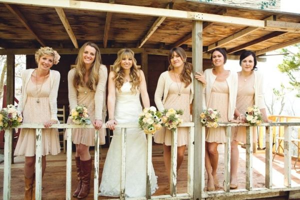 Rustic country bridesmaids and relaxed hairstyles