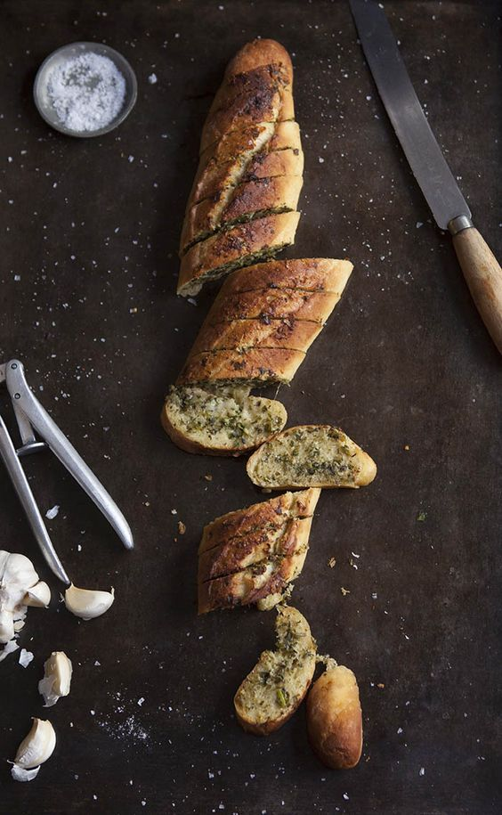 "intensefoodcravings: "" Garlic Bread with Salsa Verde Butter and Parmesan Cheese 