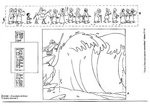 This page has a lot of ideas for visualizing different Bible stories. It is in another language, but you can figure most of it out. This is a printable craft for the people crossing the Red Sea. Knutselwerkje, door de Rode zee