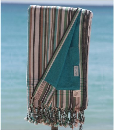 The Kikoy towels can be worn as a Kikoy and used as a beach towel. They have one layer of towelling sewn on the back of the Kikoy, as well as a perfect hide-away pocket for anything you want to tuck away whilst on the beach The traditional size is (171cm (66) x 104cm (40)).