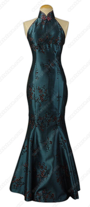 Shanghai style Qipao incorporating modern Western elements such as bare-back and mermaid flare...