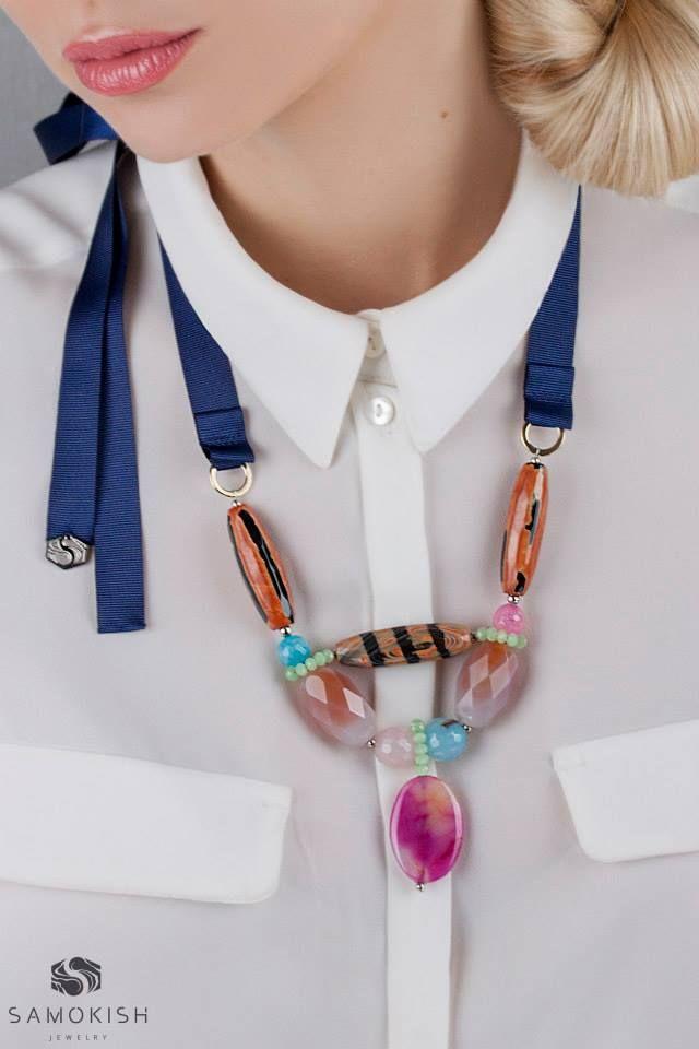 Колье Marmalade - разноцветные агаты и сердолики. #samokish #jewelry