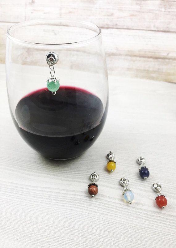 6 Charms vino colorato, magnetico vino Charms in vetro, vino accessori, regalo per gli amanti del vino, Stemless vino Charms, regalo per lei, fascino di perline