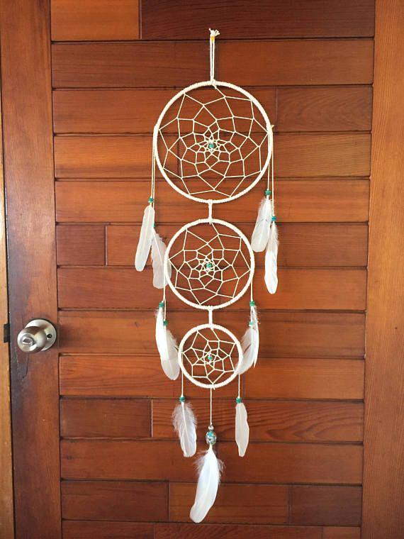 three tiered dream catcher white boho handmade feathers