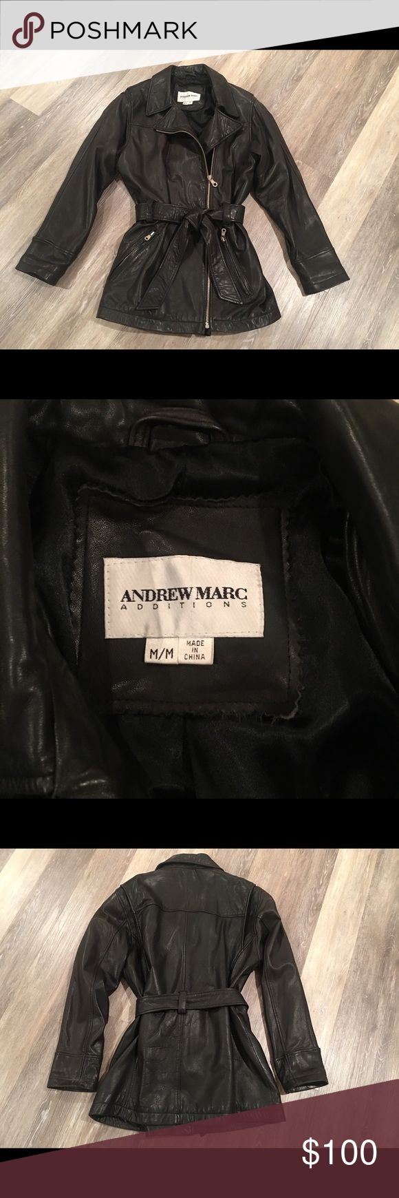 "Vintage Andrew Marc Leather Jacket Vintage Andrew Marc Leather Jacket. Buttery soft feel. Size medium...fits on the larger size as it was bought in the late 80's when clothing was worn that way. (This trend is back in style now) Length approx 29 in"".  Shoulder to shoulder approx 17"". Excellent condition. Andrew Marc Jackets & Coats"