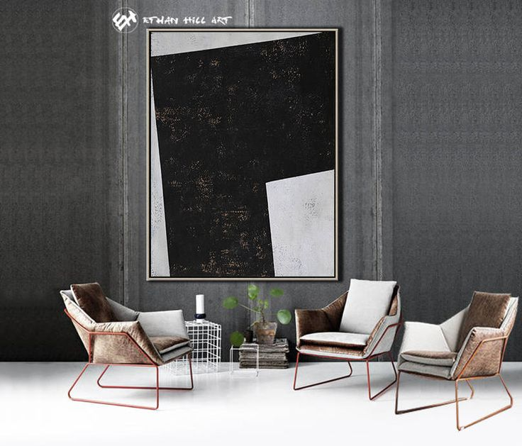 Black White Canvas Art, Large Geometric Art, Vertical Wall Art Contemporary  Painting   Ethan