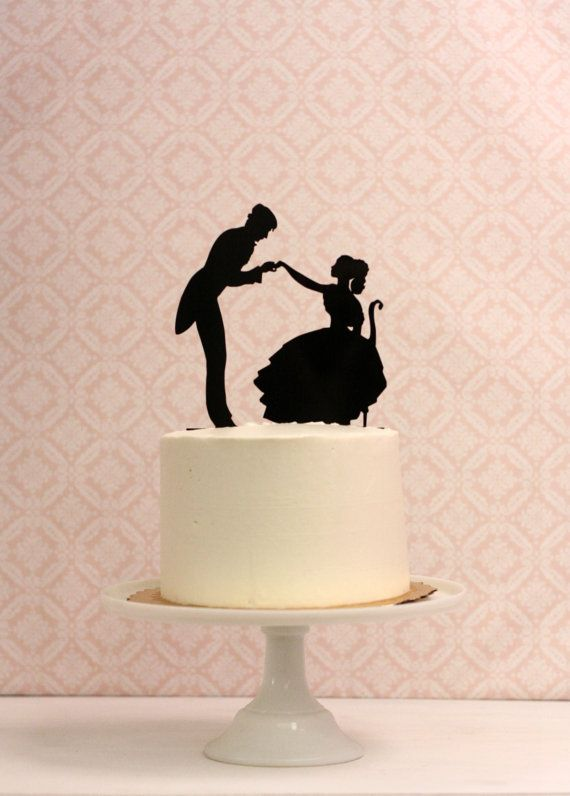 Wedding Cake Topper with Silhouettes   by Silhouetteweddings @Kelly Teske Goldsworthy J. I think you need this!