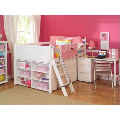 Maxtrix Kids Full Block Low Loft Bed With Accessories