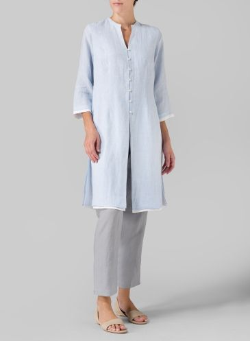 Kurta-like long top/jacket in linen