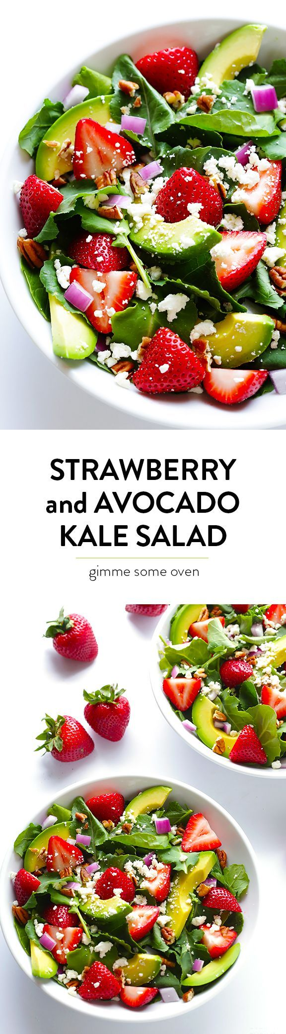 Strawberry & Avocado Kale Salad -- quick and easy to make, and always a crowd favorite! | http://gimmesomeoven.com