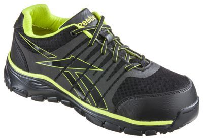Reebok Arion Safety Toe Work Shoes for Men - Dual Resistor - Black/Green -… #camping #hiking #outdoors #shooting #fishing #boating #hunting