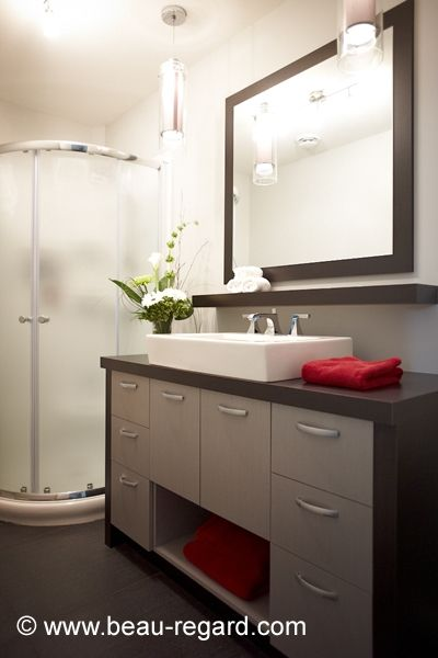 Comptoir stratifi s et armoires de salle de bain m lamine bathroom and laundry pinterest for Armoire salle de bain fly