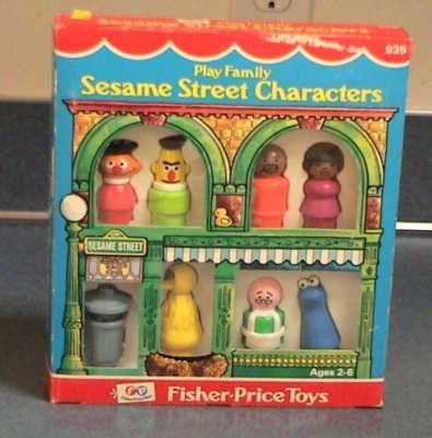 http://www.shoppingkidstoys.com/category/fisher-price/ VINTAGE Fisher Price Little People SESAME STREET Play Family MINT in BOX - this site has vintage FP toys for sale! love it!