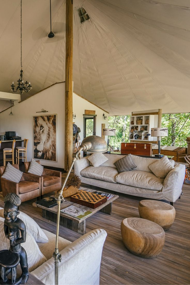 This is the ultimate in glamping - Sanctuary Stanley's Camp, Botswana- Love the color palette