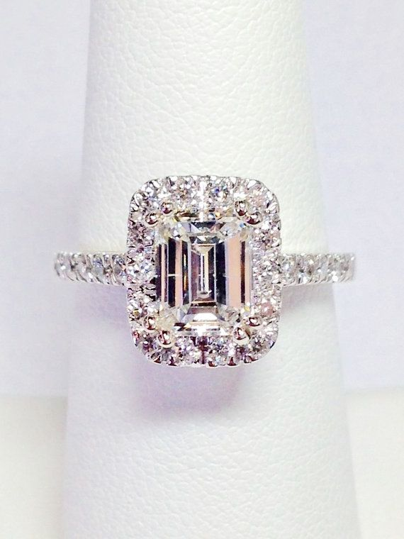 1.00CT Diamond Emerald Cut Halo  Platinum, 18K, 14K White, Yellow, Rose Gold
