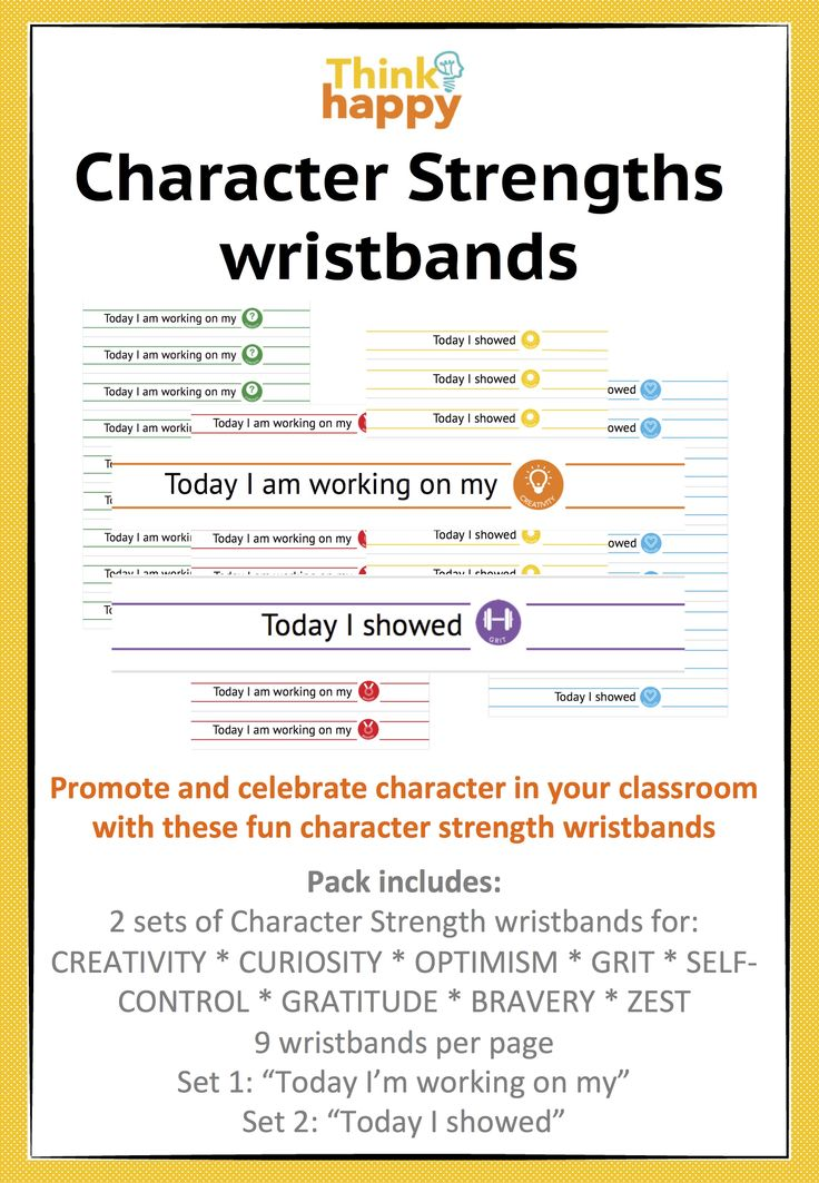Character strengths wristbands  are a fantastic way to reward your students and develop their self esteem! $2.50 for the full set of bands which you print out when you need. From THINK HAPPY :)