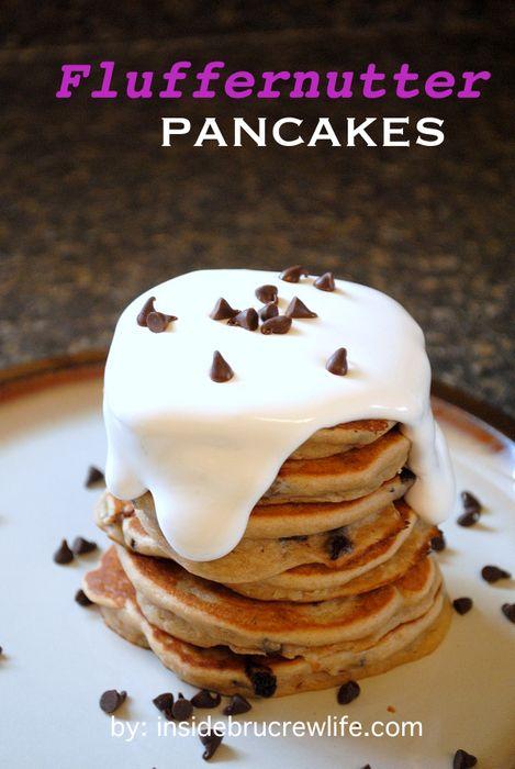 Fluffernutter Pancakes | Inside BruCrew Life: Cups Pancakes, Chips Pancakes, Food Breakfast Brunch, Inside Brucrew, Creamy Peanut Butter, Cups Marshmallows, Breakfast Recipes, Brucrew Life, Fluffernutt Pancakes