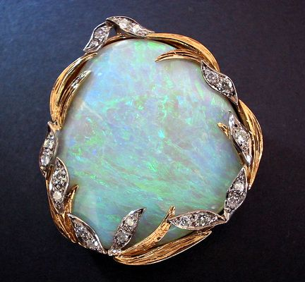 art nouveau opal & diamond brooch