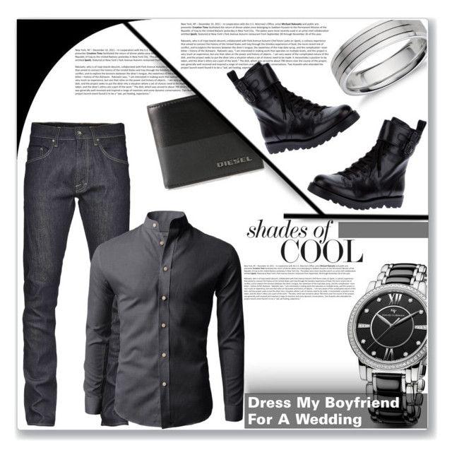 """""""Dress My Boyfriend For A Wedding"""" by jenniferjenjen ❤ liked on Polyvore featuring Avenue, Diesel, David Yurman, Blue Nile and Marc by Marc Jacobs"""