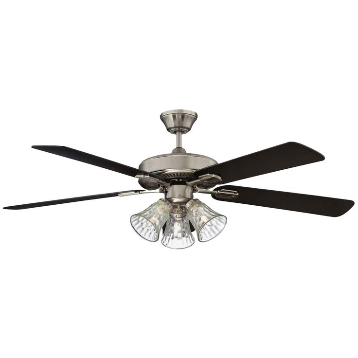 "Concord Fans 42"" Richmond Stainless Steel Finish Small Ceiling Fan with 3 Lights"