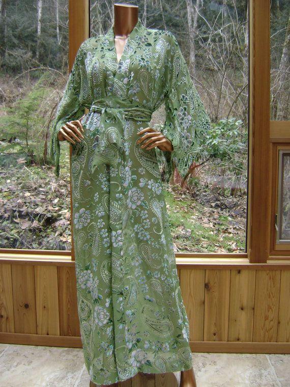 Kimono Haute Couture Silk Lingerie Robe in Elm Pansy Paisley Burn Out Velvet