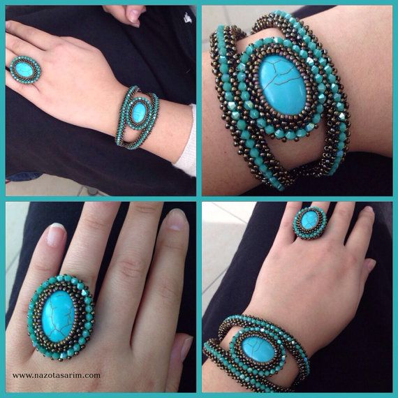 Bracelet and Ring Beaded Bracelet  Blue Crystal by NazoDesign