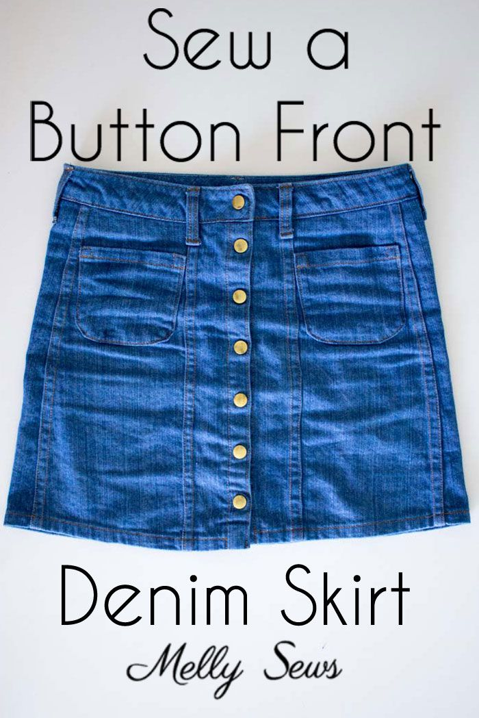 Sew a Button Up Denim Skirt - Full Tutorial for this skirt in any size by Melly Sews