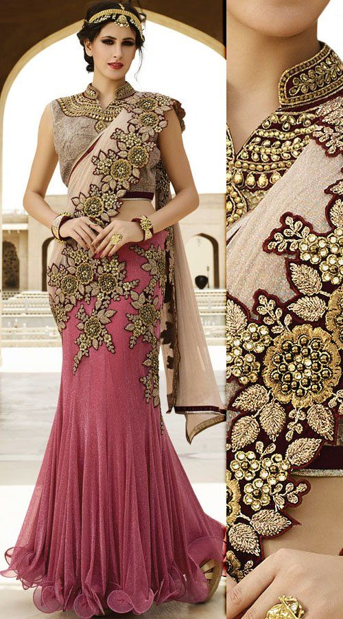 Great Fashion Light Wine Floral Work Designer One Minute Saree