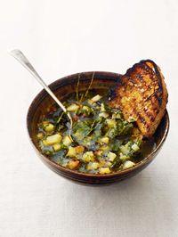 Cobnut & celeriac soup with kale, parsley & olive oil
