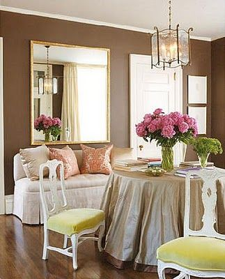 love these fresh colors with the neutral backdrop: Dining Rooms, Wall Colors, Dreams Kitchens, Big Mirror, Breakfast Nooks, Tables Skirts, Kitchens Nooks, Brown Wall, Design