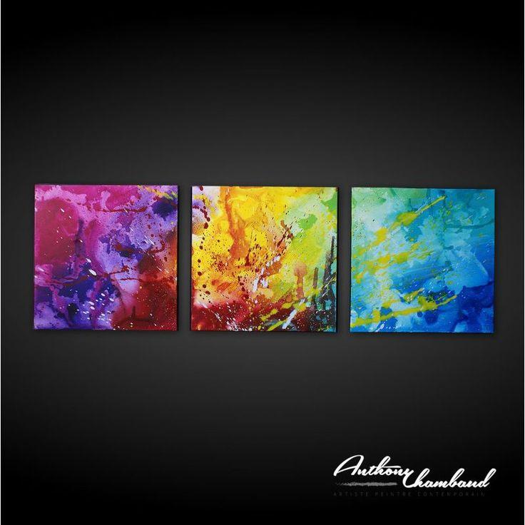 Superbe tableau coloré, peinture unique réalisée par l'artiste.