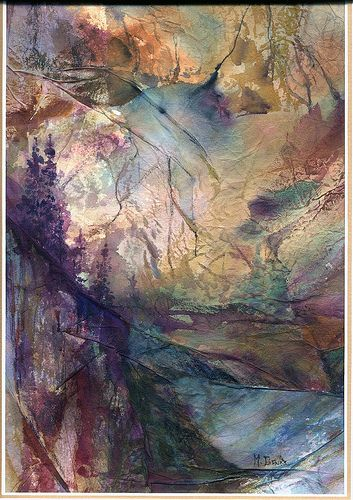 First Light, mixed media using aluminum foil and tissue paper.