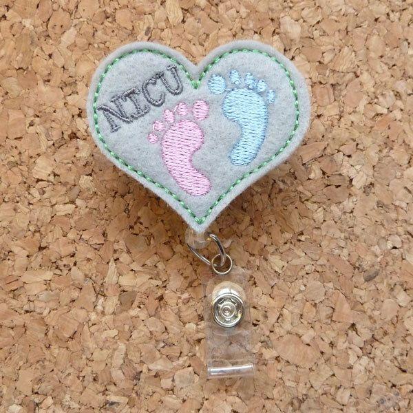 NICU Baby Feet Heart Badge Reel - ID Badge Reel - NICU nurse appreciation day