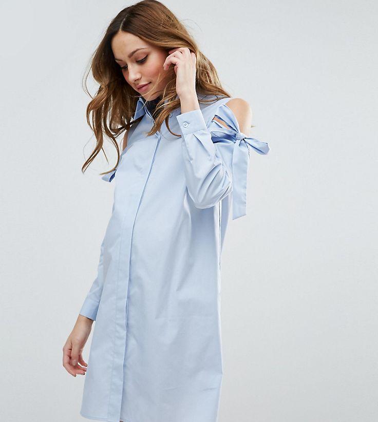 ASOS Maternity Shirt Dress with Cold Shoulder - Blue