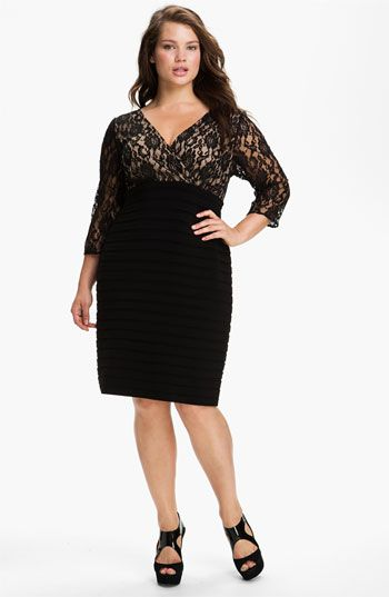 Adrianna Papell Lace Bodice Banded Sheath Dress (Plus Size) available at #Nordstrom