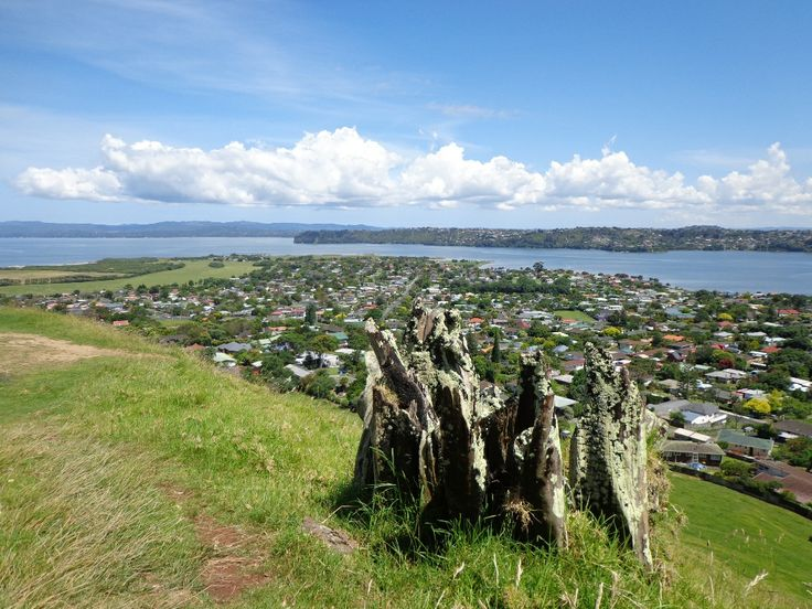 A view from a volcano - on top of Mangere Mountain.