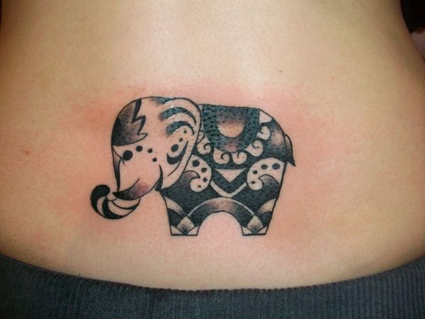 Absolutely love this design. I'm totally down for an elephant tattoo between my shoulder blades, and this elephant is so cute and festive. Though I do want mine to have more Thai-inspired designs.