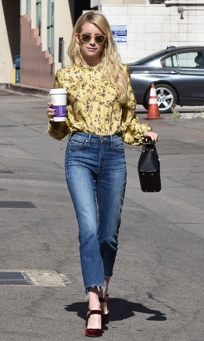 Emma Roberts grabs a coffee while out and about in Beverly Hills on October 19, 2016
