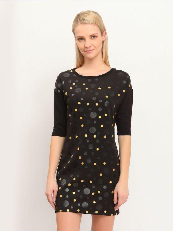Γυναικείο φόρεμα με πουά print και μανίκια ¾. Χρώμα: Μαύρο.