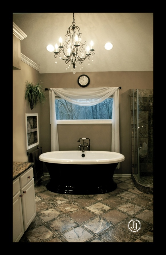 Black and tan my bathroom home and hearth pinterest for Beige and black bathroom ideas