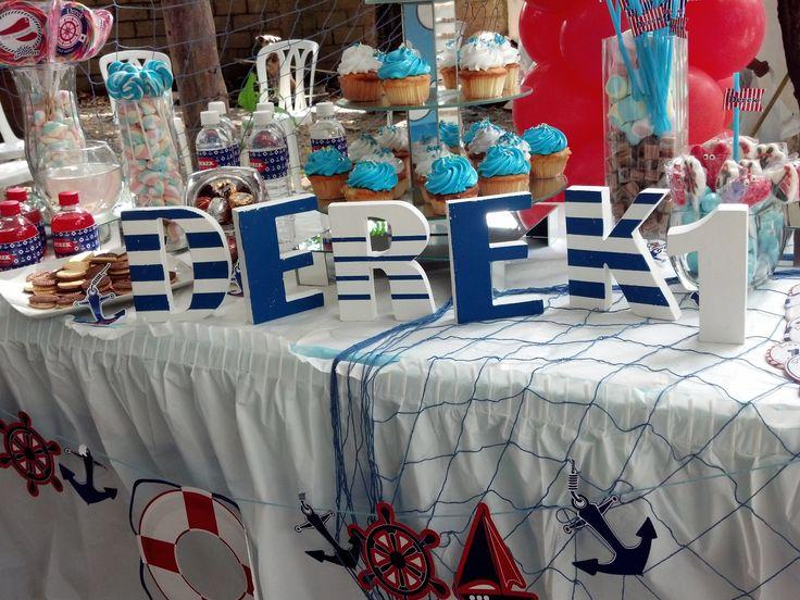 Montaje mesa de dulces cumplea os marinero pinterest for Mesa dulce marinera