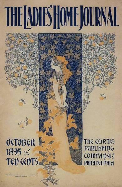 Ladies Home Journal, October 1895.  Indigo Dreams: Ladies Home Journals, 1895 Ladies, Journals Covers, Vintage Covers, Applying Art, Art Nouveau, Fall Vintage Magazines Covers, Magazines Art, Art Deco