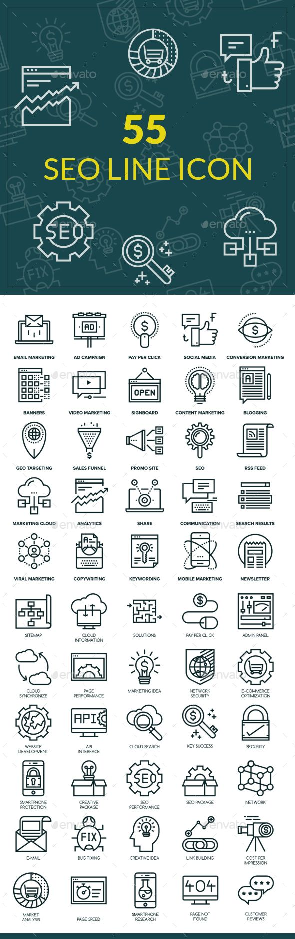 55 SEO Line Icons  #digital marketing icon #technology icon #800x1500 • Click here to download ! http://graphicriver.net/item/55-seo-line-icons/16148937?ref=pxcr